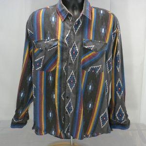 BJ-R Large Long Tail Form Fit Western Aztec Shirt